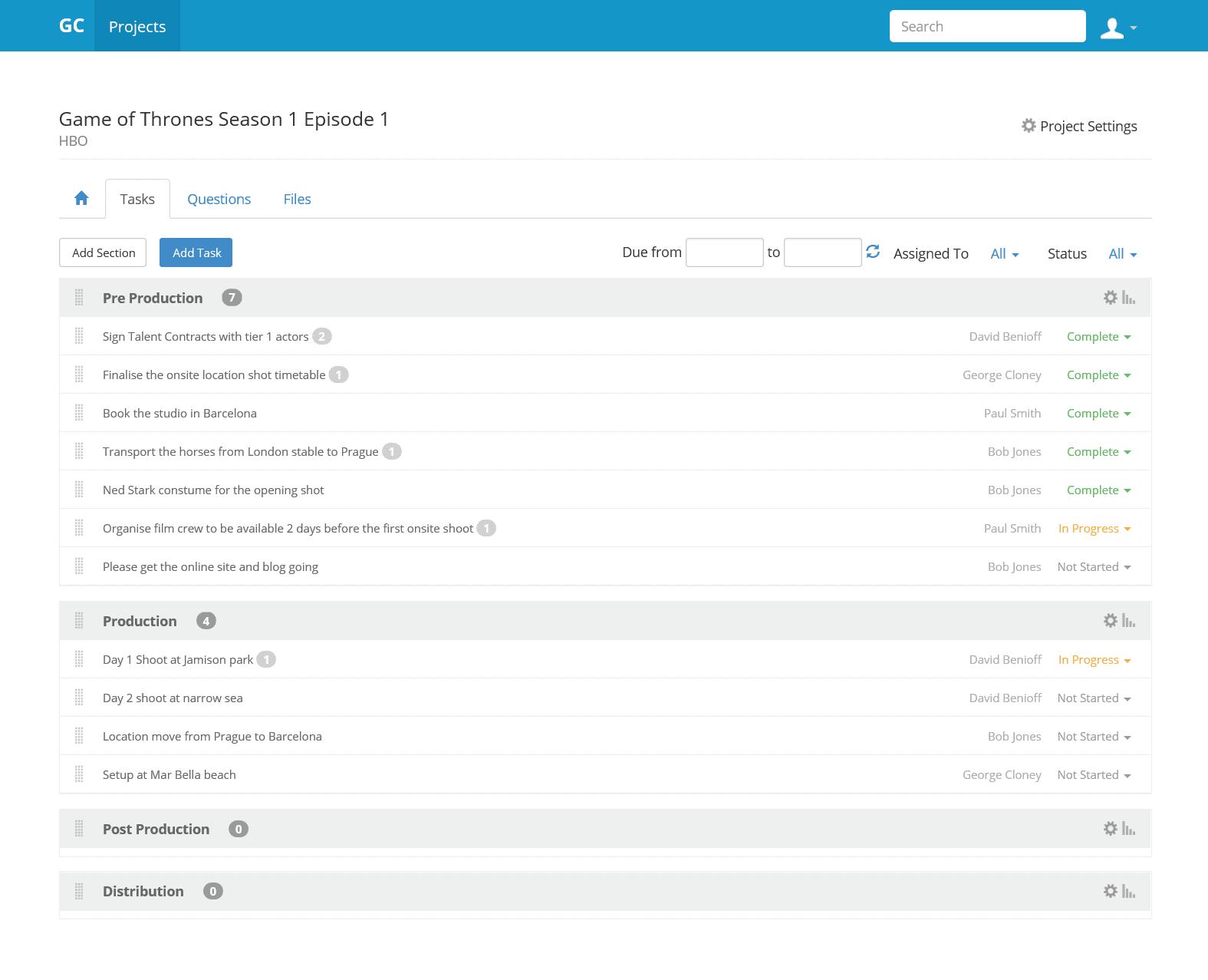 Project Tasks