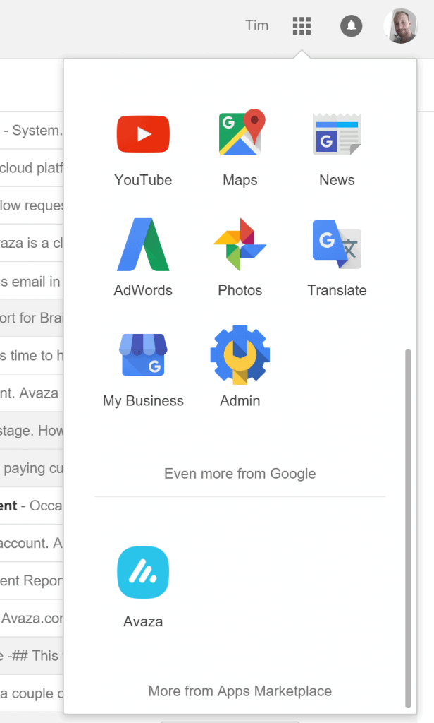 Google Apps For Work with Avaza