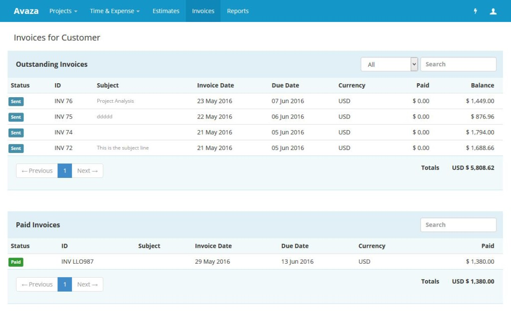 Customer Portal Invoice Overview