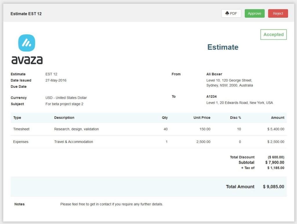 Avaza Adds Estimates And Invoices To Customer Portal Avazacom - Quickbooks online invoicing portal features