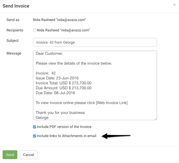 Unselect Attachments When Resending Invoices