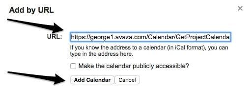 iCal Avaza Integration