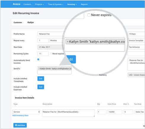 Powerful Recurring Invoicing Software Avaza - Quickbooks online recurring invoice