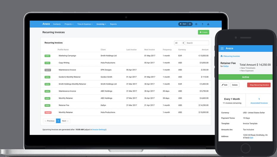 Powerful Recurring Invoicing Software Avaza - Quickbooks recurring invoice