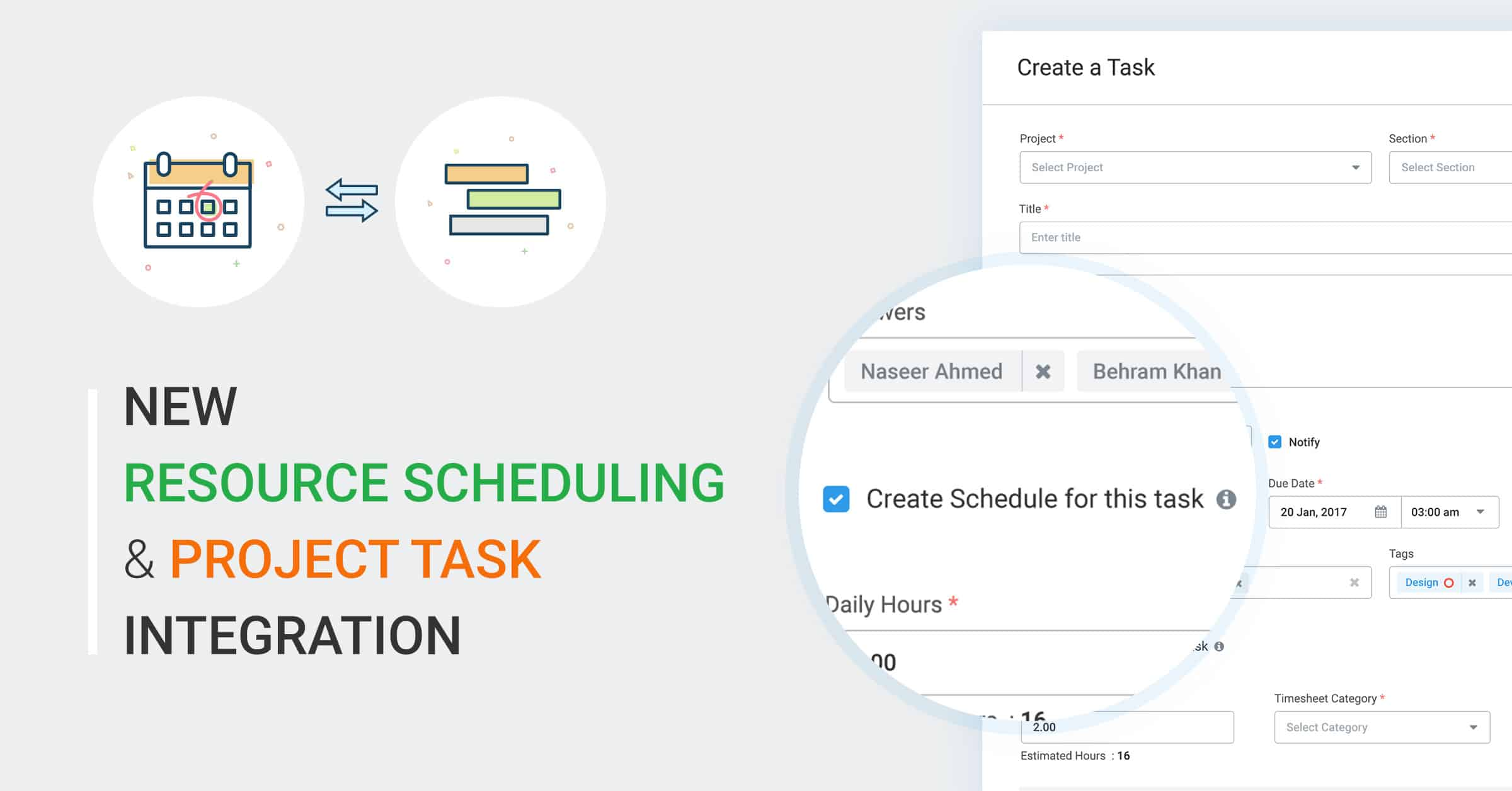new resource scheduling project task integration