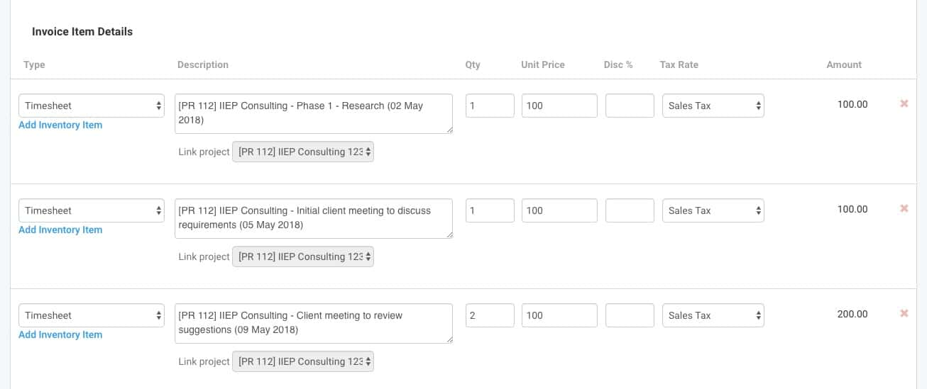 invoice project timesheets