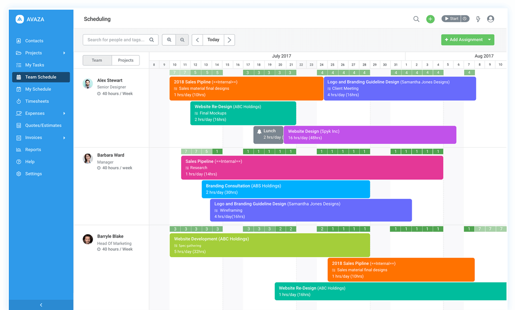 manage your teams schedule on an interactive calendar and make smarter project scheduling decisions